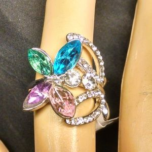 Multi Color Shiney Rhinestones Butterfly Ring